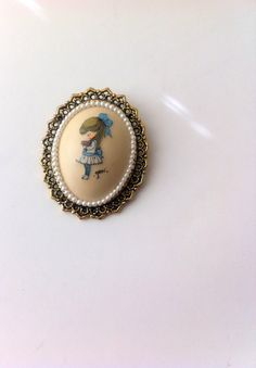 Vintage Cameo Brooch by Geri Victorian Girl In Blue by Pesserae, $10.00