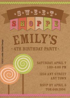 vintage chipboard sweet shop birthday party invite by LeslieZanderDesign, $9.99