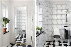 Många är rädda för att lägga mönster på både väggar och golv,  i alla fall när det gäller kontrasterna svart/vitt.… Retro Bathrooms, Tiny Bathrooms, Beautiful Bathrooms, Small Bathroom, Bathroom Goals, Bathroom Inspo, Bathroom Inspiration, Bathroom Toilets, Washroom