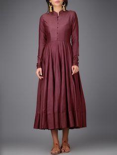 Buy Maroon Mandarin Collar Cotton Silk Anarkali Dress Women Dresses Online at Jaypore.com