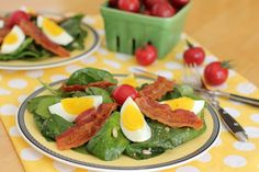 Bacon, Egg and Spinach Salad with Mustard and Miso Vinaigrette