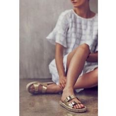 Anthropologie Miss Albright gold Barulina slides Worn only three times for a brief amount of time. In great condition! Size 39 but could fit an 8 1/2 well, too. Metallic leather upper. Exclusive to Anthro! Anthropologie Shoes Sandals