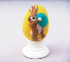 Needle Felted Egg  Busy Bunny  Easter Egg by theFeltasaurus, $17.50