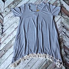 Pom Pom hem Gray Tunic Top R and f made in USA uneven hem Pom Pom tunic top. Loose fit. April Spirit wholesale. April Spirit Tops Tunics
