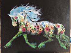 In the Garden friesian horse caballo flower by RustyHaloStudio