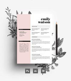 Personalizado plantilla de CV carta de por EmilyARTboutique