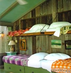 I just love the fold down beds, great for the Lake's bunk house! Bunk Beds Small Room, Wooden Bunk Beds, Bunk Rooms, Bunk Beds With Stairs, Kids Bunk Beds, Loft Spaces, Small Spaces, Small Rooms, Small Bathrooms