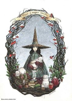 Ideas Cats Illustration Happy For 2019 Pagan Yule, Pagan Art, Art And Illustration, Art Illustrations, Fantasy Kunst, Fantasy Art, Pagan Christmas, Witch Art, Book Of Shadows