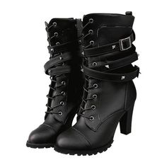 Studded Chunky Heel Mid-calf Combat Boots ($30) ❤ liked on Polyvore featuring shoes, boots, studded boots, army boots, combat booties, black combat boots and mid calf military boots #midcalfboots