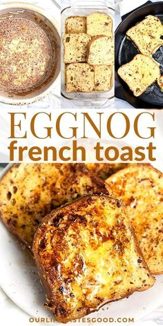 Learn how to make the BEST eggnog french toast for a simple yet decadent holiday breakfast that's sure to impress. Everyone will LOVE this festive twist on classic french toast and it's super easy to Best Breakfast Recipes, Brunch Recipes, Dessert Recipes, Desserts, Eggnog French Toast, French Toast Bake, French Toast Recipes, Best French Toast, Christmas Breakfast