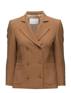 DAY - 2ND Pray nner lining Double breasted button placket Oversized lapel and collar Shaping seams Stretch fabric Classic Elegant Sophisticated Coat Jacket beige