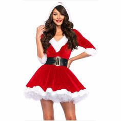 2a9cbfab67402 Hot Hooded Santa Costumes Cosplay Lovely Xmas Dress Up Clothes Sexy Night  Party Outfit Christmas Costume Dress Women Red