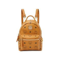 MCM Side Stud Baby Stark Backpack ($675) ❤ liked on Polyvore featuring bags, backpacks, cognac, monogrammed bags, mcm, studded backpack, knapsack bag and mcm backpack