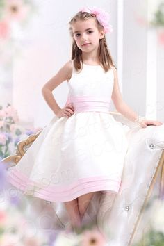 Sweet A Line Tank Top Tea Length Satin Ivory Flower Girl Dress CKZI13002    $63.00   Flower Girl Dress, Flower Girl Dress,Flower Girl Dress, Flower Girl Dress, Flower Girl Dress, Flower Girl Dress