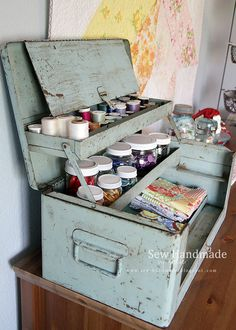 Sewing & craft room decor using an antique toolbox- www. Sewing & craft room decor using an antique toolbox- www. Craft Room Decor, Cricut Craft Room, Craft Room Storage, Craft Rooms, Old Tool Boxes, Metal Tool Box, Vintage Craft Room, Vintage Crafts, Coin Couture
