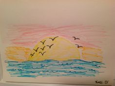 We love this sunset picture made by Katie, 8 years old • Art My Kid Made Artist of the Day on Dec. 29, 2012 #kidart