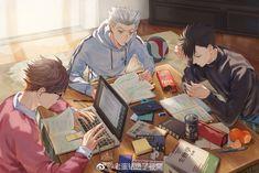 Boys studying : haikyuu