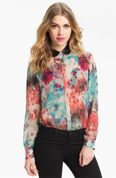 Bellatrix Embellished Collar Print Chiffon Shirt available at #Nordstrom