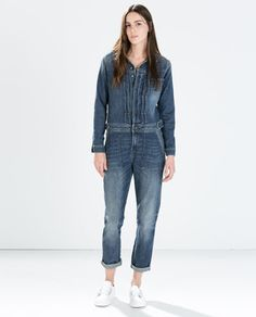 PLEATED DENIM JUMPSUIT-Jumpsuits-WOMAN-SALE | ZARA United States