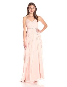 Adrianna Papell Women's Spaghetti Strap Chiffon Long Gown with Ruffle Skirt -- Wow! I love this. Check it out now! : formal dresses