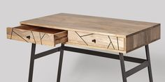 Herning Desk in Mango and Steel Inlay