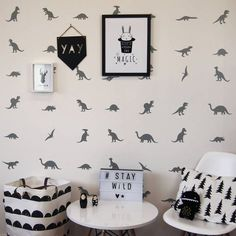 Great dinosaur wall stickers.We love our fabulous peel and stick dinosaur wall stickers. At Parkins Interiors we have fully embraced the trending monochrome theme and created a range of wall stickers to transform blank walls. Simply peel and stick to install. Great for children and adult spaces alike and available in a range of 25 colours. Our easy to install wall stickers are an easy mess free way to re-invigorate tired looking walls. Waterproof and wipe clean so great for kids!Premium…