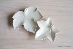 Limoges, Bavaria leaf dishes, white porcelain leaf-shaped trinket dish by RueDeLouvain on Etsy