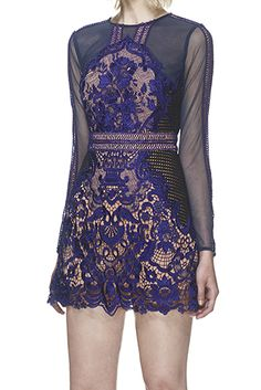 Blue Sheer Lace Trim And Mesh Combination Party Dress