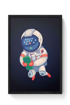 Astronaut Playing Games Laminated Framed Poster