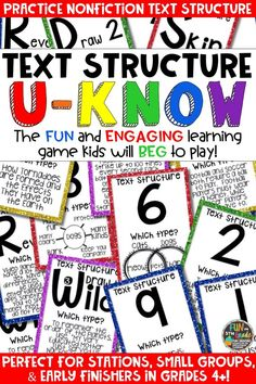 Students love playing U-Know games for fun REVIEW of nonfictions text structures or for test prep. It's a perfect activity for any small group or station, and great for early finishers. Text Structure U-Know is a fun learning game played similar to UNO except if you get an answer wrong, you have to draw two! Students will beg to practice text structure in this way! Available in MANY other topics!
