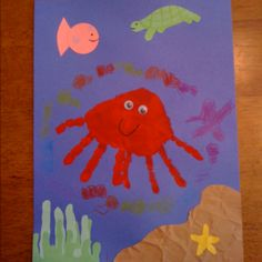 Week Short O: Handprint octopus craft Letter Activities, Kindergarten Activities, Activities For Kids, Ocean Animal Crafts, Octopus Crafts, Summer Crafts For Kids, Kids Crafts, March Colors, Zoo Phonics