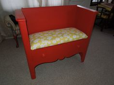 Red Repurposed Antique Dresser made into a Bench by tigerlilysn, $200.00