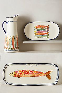 Discover unique Serveware & Entertaining products at Anthropologie, including the seasons newest arrivals. Shop serving platters, dishes, and pitchers. Ceramic Painting, Ceramic Art, Porcelain Painting Ideas, Pottery Painting Ideas Easy, Painted Porcelain, Porcelain Ceramics, Ceramic Plates, Ceramic Pottery, Cerámica Ideas