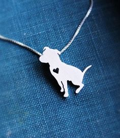 Sitting Pit Bull wiht Heart Silver Plated Necklace - Proceeds go to Pit Bull rescue