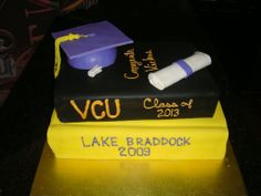 Graduation Book Stack - 100 serving HS graduation cake for a guy heading off to a dental program at VCU...hence the tooth.