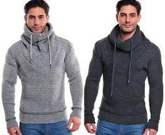 Warmer Herren Norweger Grobstrick Strick Pullover Hoodie Schalkragen NEU Grau | eBay