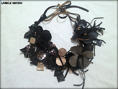 Black magic - necklace made of leather & clay by LjubicaDesign on Etsy