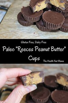 Paleo Reeces Peanut Butter Cups made with almond butter. A healthy gluten free & dairy free dessert that is so easy the kids can help make. Paleo Dessert, Gluten Free Desserts, Healthy Desserts, Dessert Recipes, Paleo Recipes, Paleo Menu, Paleo Appetizers, Paleo Diet, Paleo Peanut Butter