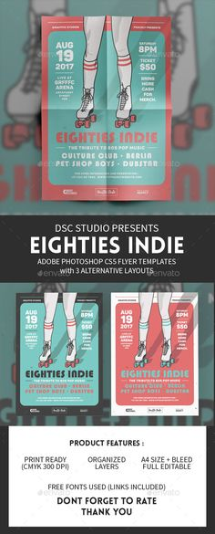 PSD Eighties Indie Flyer Template  • Only available here ➝ http://graphicriver.net/item/eighties-indie-flyer-template/16267577?ref=pxcr