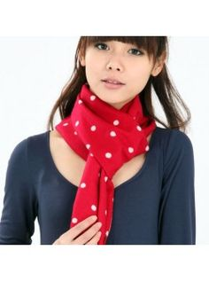 WE-IMAGE WE-AB-041840Red Holiday Polka. Stunning Red Cosy and Tasselled Silk Scarf with White Polka Dots /free shipping