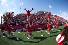 Cheerleaders get the crowd going at Illinois State's Homecoming game against Southern Illinois on Oct. 6, 2012, at Hancock Stadium.