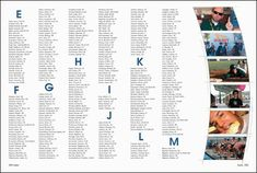 Yearbook Index Design - graphic element bar on side with random pictures to get more girls in the book. Bar would not be curved, letters lowercase. Digging this indec Middle School Yearbook, Yearbook Class, Yearbook Pages, Yearbook Spreads, Yearbook Covers, Yearbook Layouts, Yearbook Design, Yearbook Picture Ideas, Yearbook Ideas