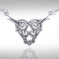 Celtic Knotwork Silver Heart Necklace TN276 - In antiquity, the Celtic Heart was a tasteful outward expression of inner love, passion, and strength, and the endless Celtic Knotwork interwoven into the design signifies the concept of eternity. Intricate and compelling, this exquisitely complex sterling silver Celtic Knotwork Heart necklace by Peter Stone is the perfect way to express your most intimate and enduring qualities, even in today's more sophisticated setting.