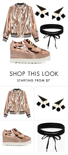 """Copper and black"" by sarafleisch123 ❤ liked on Polyvore featuring Sans Souci, Eshvi, STELLA McCARTNEY and Boohoo"