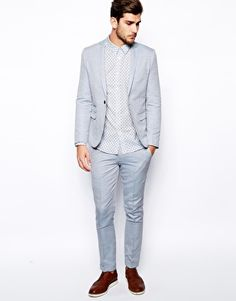 Selected Light Blue Suit In Chambray