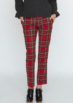 Straight Pants – Red Tartan