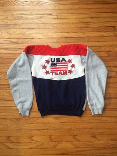 Vintage Team USA Olympic Style Red White and Blue Soft Sweatshirt by VintageVanShop on Etsy