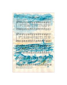 Fine Art Print from Watercolor orginal Sailboat on Hymn Come Thou Fount vintage sheet music 11x14 by kitsunderland on Etsy, $60.00 https://www.facebook.com/#!/pages/Kit-Sunderland/141759050719