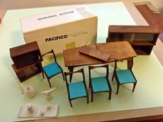 Vintage Miners Industries Japan Mid Century Modern Dollhouse Dining Rm Furniture Lot