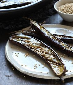 ... Baked eggplant with miso ...